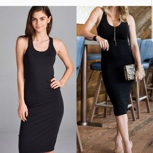 Black midi bodycon dress.